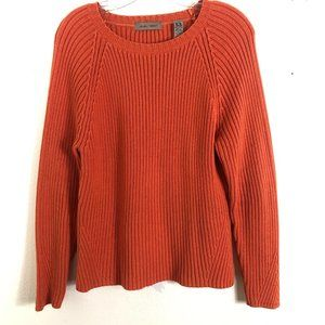 IE RELAXED Orange Cable Knit Scoop Neck Sweater